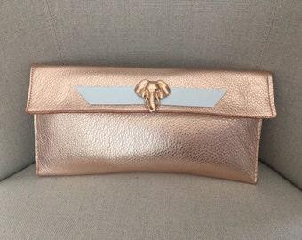 ROSE GOLD Clutch purse handbag womens leather purse clutch womens purse clutch two tone clutch purse clutch purse clutch