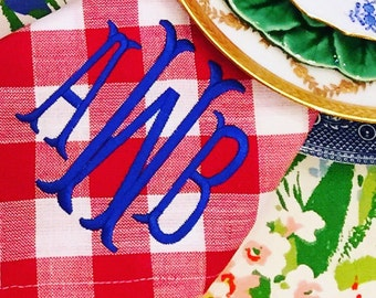 RED check monogram napkins