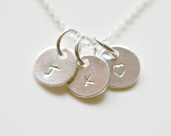Personalized silver disk necklace, multiple tags, custom hand stamped, initial letter, tag, mom necklace, grandmother, gift for her - Cindy
