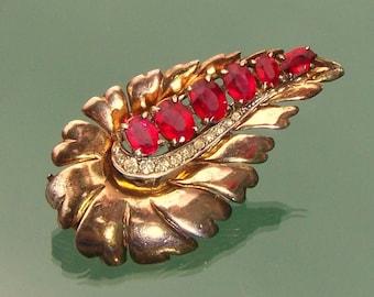 Rhinestone Brooch Fur Clip Ralph DeRosa Sterling 1940s Signed Vintage Costume Jewelry