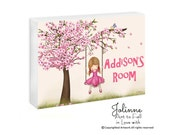 Cherry blossom tree custom door sign,  Personalized Name Sign, custom hair skin color artwork, Baby Girl Name Sign Nursery , Kids Artwork