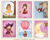 Girls wall art, prints, kids room decor, kids art, art, children, baby nursery art, kidswallart ,nursery wall decor,set of 6 prints