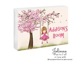 Cherry blossom tree custom door sign,  Personalized Name Sign, custom hair skin color artwork, Baby Girl Name Sign Nursery , Kids Artwork