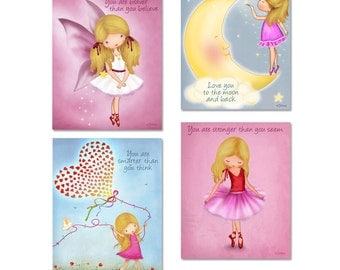 Art for girls room with quotes, love you to the moon, fairy angel wall art,Baby girl Nursery posters,girl nursery personalized print,artwork