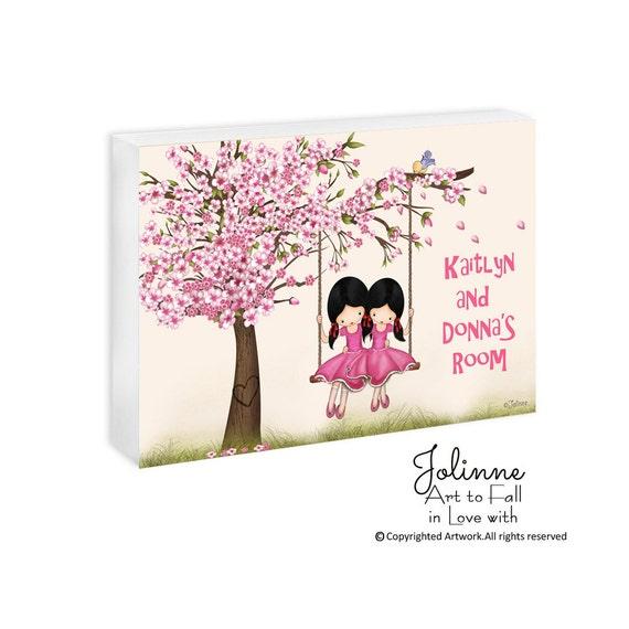 Twins sisters personalized door plaque, Cherry Blossom tree door sign, door sign custom, kids door signs,nursery decor,custom saying,hanger