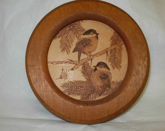 Vintage Birds on Branches on Leather, Framed Wall Decor, Signed
