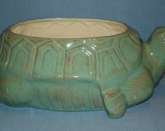 Ceramic Turtle Planter, Sea Green, Succulent, Herb, Cactus Pot