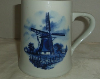 "Now 50% Off, Mug Stein 5"" tall 12.5 cm, Windmills, Delft Blauw, Made in Holland"