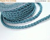 "ON SALE Satin thick ""chain"" braided silk cord, grey blue, 1m"