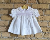Vintage 1980s Baby Girl Size 6M Smocked Dress VGC / White Cotton, Lace, Embroidered Flowers
