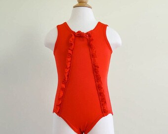 Vintage 1970s Girls Size 2-3T Swimwear / 70s 80s Carter's One-Piece Red Swimsuit VGC