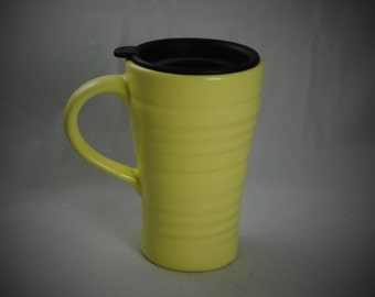 Yellow Ceramic Travel Mug with a lid