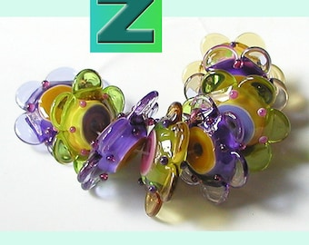 Neon Harvest Fun Size Floopy Flowers - 8 fun size + 1 regular size - lampwork by Sarah Moran