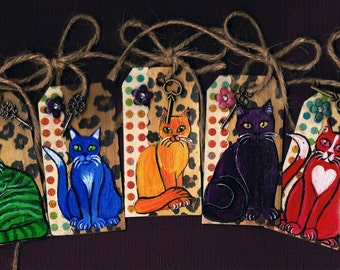 Set Of Five Kitty Cat Gift Tags,  Handmade, Mixed Media, Collage, Colorful and Fun Tags