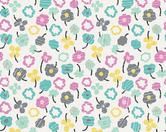 Playing Pop Fabric Collection From Art Gallery Waving Buds Glazed Tossed Waved Multicolored Floral Flowers on White