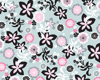 Flamingoes Makower UK Fabric Daisy Flower Petals Black and Pink on Gray