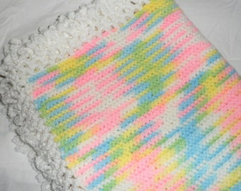"Vintage 46"" x 46"" Hand Crocheted Crochet Afghan Blanket Pink Blue Yellow White Gorgeous Item"
