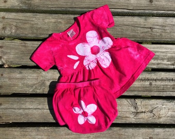 Pink Baby Girl Dress Set (6 months), Baby Dress and Diaper Cover with Flowers, Fuchsia Baby Dress, Baby Girls Dress, Pink Baby Dress