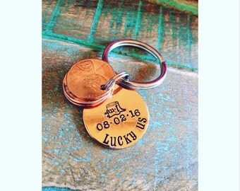 Penny key chain - anniversary gift idea - special date keepsake - gift idea for men- graduate present- new baby remembrance
