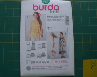 Burda 9469 Kids Dress Shirt & Skirt Sizes 7-13jun NEW Uncut Sewing Pattern
