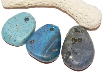 Leland Blue Pendants, Sliced Slag, slag glass, foundry glass, Shades of Blue, Lake Michigan Gems, Up North Charms, Swirling Blue