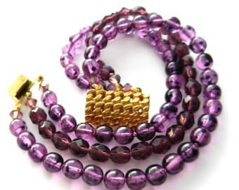 1950s  fine two tone Purple Violet Glass Beads triple strands bracelet -A charming old jewel -Art.79/4 -