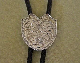 Silver Bolo Tie Engraved Diablo