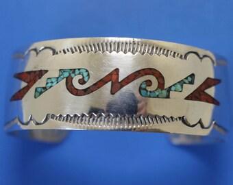 Silver Bracelet Navajo Stone Inlay