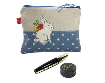 Bunny Makeup Case, Gift for Women, Cosmetic Bag, Rabbit Lover Gift, Personalised Make Up Bag, Zip Pouch, Mothers Day Gift