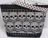 Gothic Skulls large Tote Bag , Gothic Skull Shoulder Bag, Alternative Fashion Market Tote , Cream And Black  Rocker Chic Purse Ready to Ship