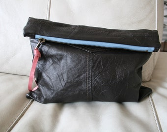 Leather clutch, reclaimed leather clutch purse bag, brown pouch READY TO SHIP