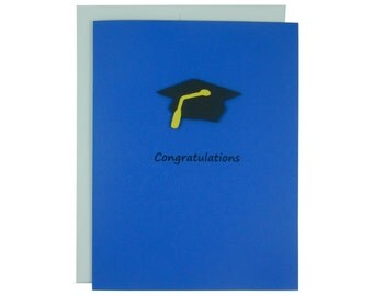 Blue Graduation Card Congratulations Graduation Hat Handmade Card Graduation Cap Handmade Greeting Card for Graduation Gift Congratulations