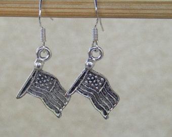 Flag Earrings, Dangle Earrings, Patriotic Earring, .925 Sterling Silver, Silver Ear Hooks, CooperStudios