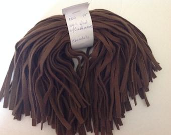 100 CHOCOLATE Wool rug hooking strips