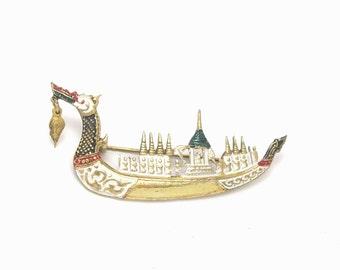 Siam Dragon Boat Brooch, Asian Brooch, Thailand Brooch, Siam Brooch, Dragon Brooch, Asian Jewelry