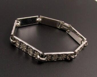 Silver Link Bracelet, Sperry Bracelet, Etched Bracelet, Embossed Bracelet, Floral Bracelet, Silver Bracelet