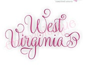 West Virginia Calligraphy Fancy Script 3  - Instant Download Machine embroidery design