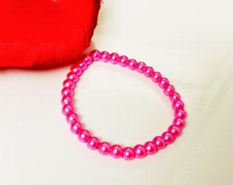 Bright Pink Pearl Bracelet - Pink Bridesmaid Bracelet - Bright Pink Flower Girl Bracelet - Pink Bridal Party Bracelet