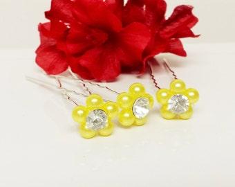 Lemon Yellow Pearl Hair Pins - Set of 3 Bridesmaid Hair Pins - Rhinestone Flower Girl Hair Accessories