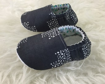 Charcoal & Snow Geometric Baby Bootie - Elastic Back - Made to Order