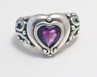 sterling silver size 6 purple heart amethyst gemstone solitaire ring band scroll work shoulders bezel set