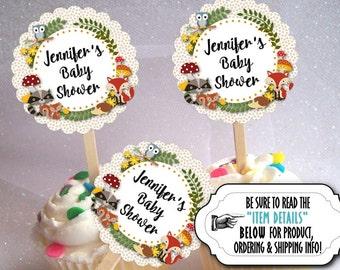 12 Cupcake Picks, Cupcake Topper Decorations, Baby Woodland Forest Animals, Bridal Shower, Baby Shower, Birthday, Fox, Hedgehog