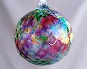 Hand Blown Art Glass Christmas Ornament/Ball/Suncatcher,  Red Multicolored,Pineapple Pattern