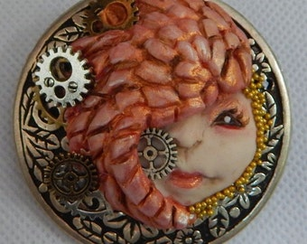 Steampunk Goddess Brooch or Scarf Pin Jewelry Handmade NEW Polymer Clay Fashion Gears
