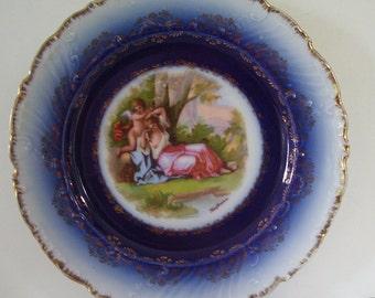 Carlsbad Victoria Flow Blue Austria Porcelain Plate, Flow Blue Collectors Plate, Flow Blue Cabinet Plate, Austrian Artist Signed