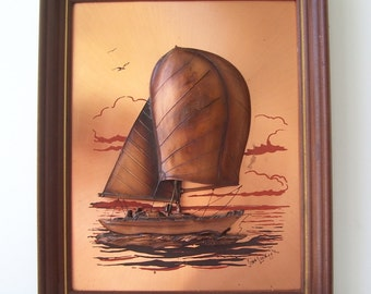 John Louw Sail Boat Copper Wall Hanging, Sculpture Art, Sail Boat Wall Hanging Print, Mid Century Metal Sailing Boat
