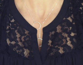 """Sterling Silver Eternity/Circle Lariat Necklace - 3/4"""" in diameter - Sterling Silver Fine Chain - Perfect Gift - Wedding Jewelry - Simple"""