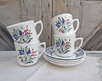 Vintage Tea Cups Set of Four Country Blue and White Coffee Cups