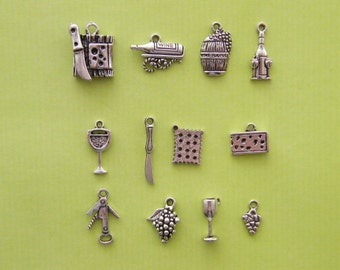 The Cheese and Wine Collection - 12 different antique silver tone charms