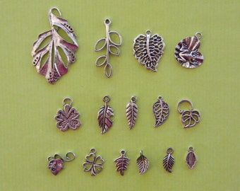 The Ultimate Leaf Charms Collection - 15 different antique  silver tone charms